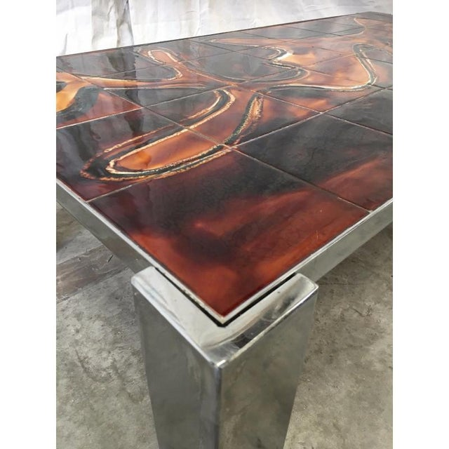 Mid century tile top coffee table with chrome frame - item: tv5-082 Very handsome coffee table. In very good condition....