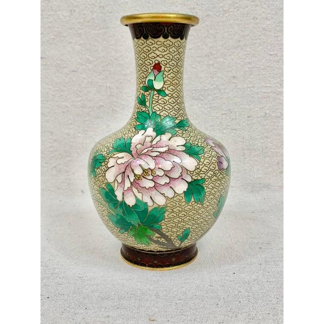 Vintage Floral Cloisonne Vase For Sale - Image 10 of 10