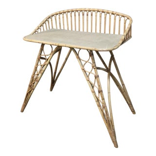 Mid-Century French Rattan Bar Table For Sale