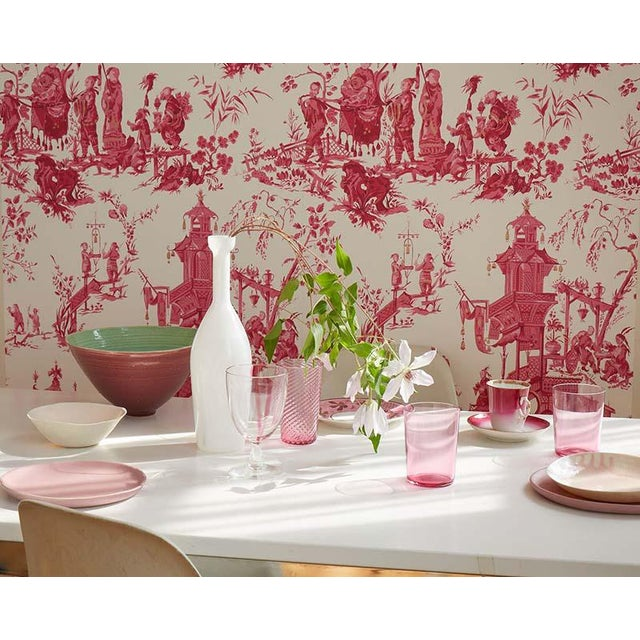 Early 21st Century Sample - Schumacher Chinois Wallpaper in Peony For Sale - Image 5 of 5