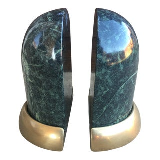 Vintage Marble and Brass Bookends - a Pair For Sale