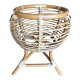 Image of Vintage Franco Albini Style Rattan Plant Stand For Sale