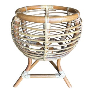 Vintage Franco Albini Style Rattan Plant Stand For Sale