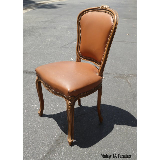 French Provincial Style Brown Leather Accent Chair For Sale - Image 4 of 11