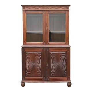 Antique Glass Paneled Sunburst Cabinet For Sale