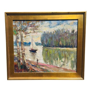 Late 20th Century Impressionist Style Nautical Oil Painting, Framed For Sale