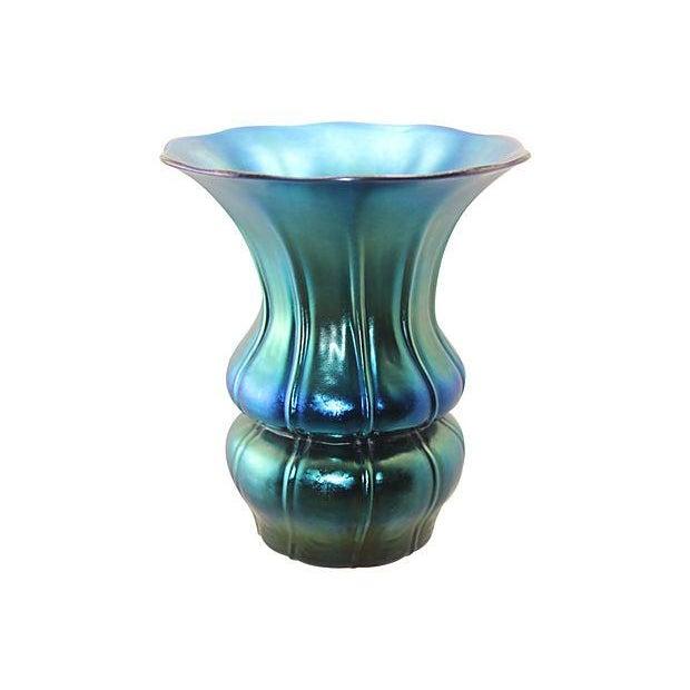 Authentic 1930's Steuben Blue Aurene Ribbed Vase For Sale - Image 7 of 7