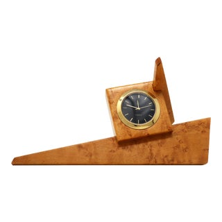 1980s Angular Burl Wood Desk Clock For Sale