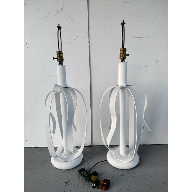 1970's Metal Ribbon Table Lamps - a Pair For Sale - Image 4 of 9