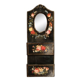 19th Century French Lacquered Mirrored Letter Holder With Painted Floral Motifs For Sale