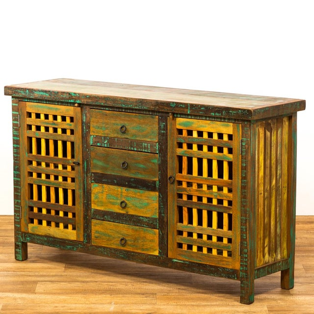2010s Save the Planet Handmade Reclaimed Solid Wood Buffet Sideboard For Sale - Image 5 of 7