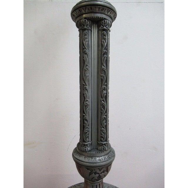 Antique Aluminum Carved Industrial Regency Pedestal Candle Base For Sale In Philadelphia - Image 6 of 10