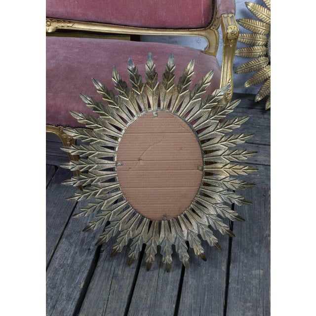 Gilt Metal Oval Sunburst Mirror For Sale In New York - Image 6 of 9
