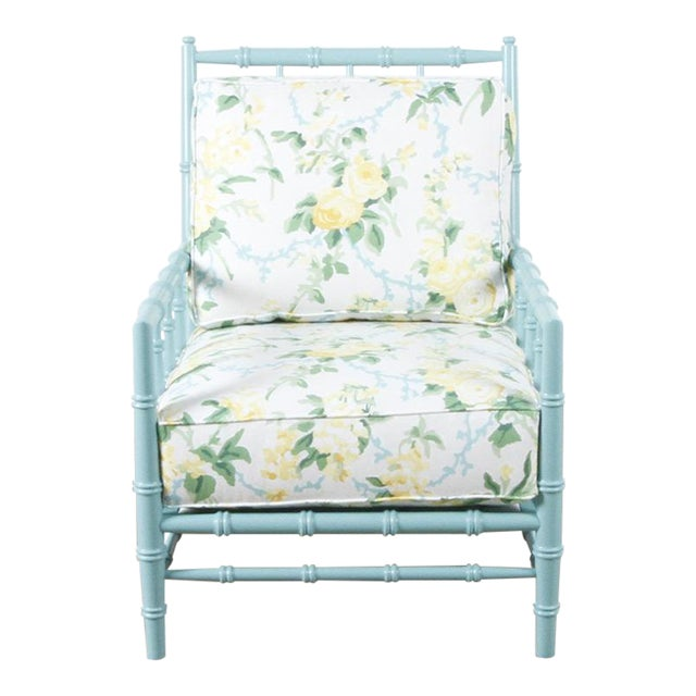 Green Floral Cottonwood Chair For Sale