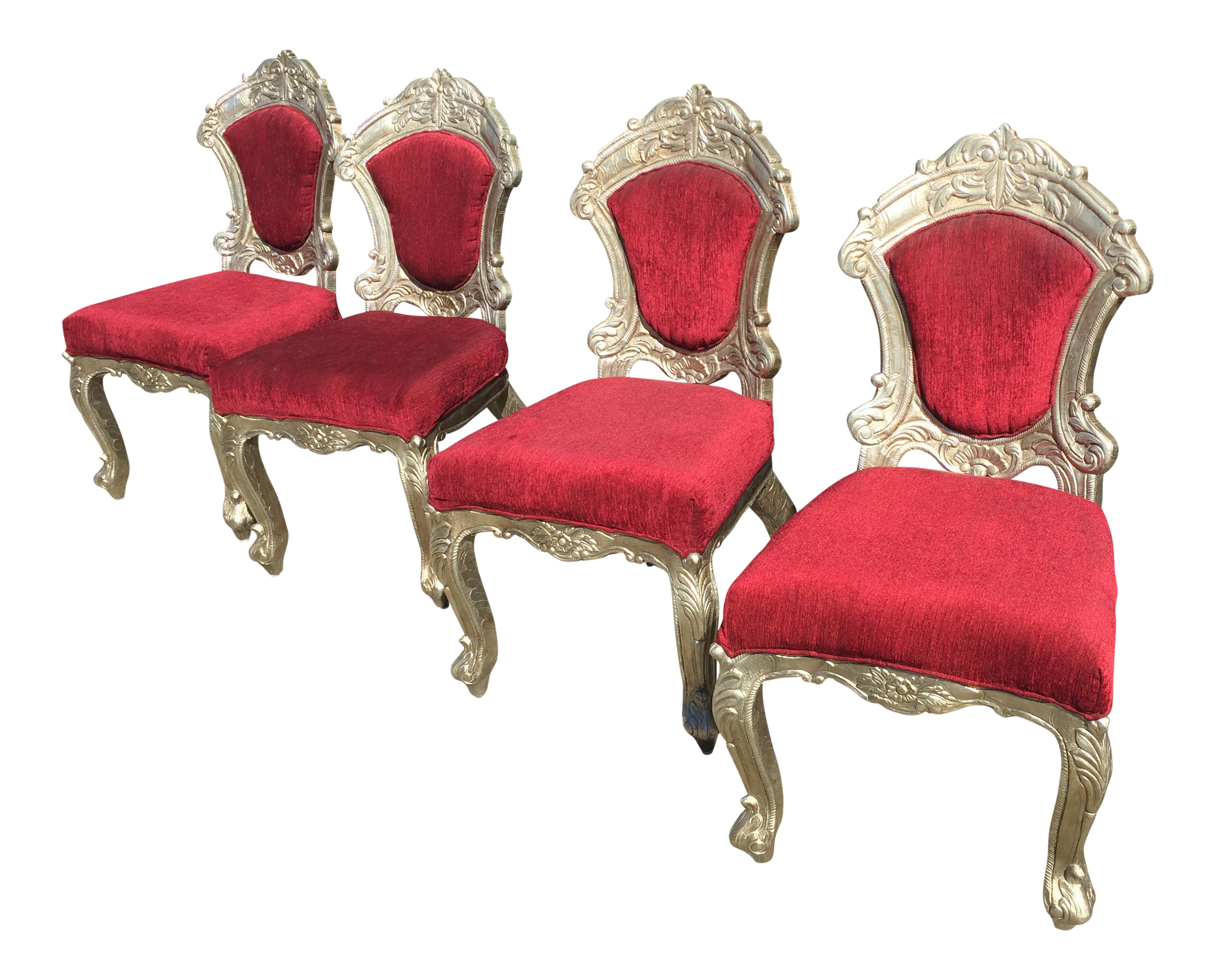Red U0026 Silver Indian Chairs   Set ...