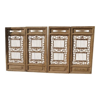 Antique Chinese Window Panels - Set of 4 For Sale