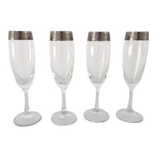 Greek Key Design Champagne Flutes Glasses - Set of 4