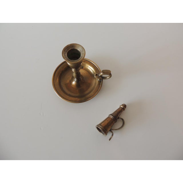 Late 20th Century Vintage Brass-Plated Round Candleholder With Snuffer For Sale - Image 5 of 6