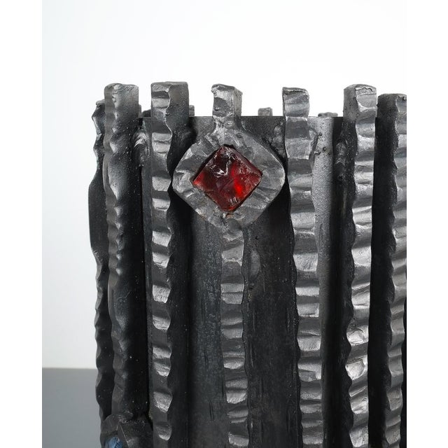 Glass Artisan Brutalist Midcentury Wrought Iron Glass Umbrella Stand, Italy, 1950 For Sale - Image 7 of 11
