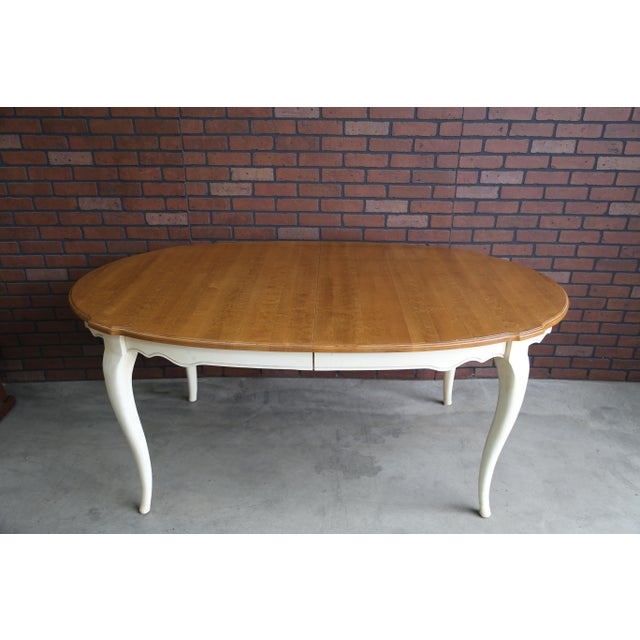 Wood French Country Ethan Allen Oval Extension Dining Table For Sale - Image 7 of 8