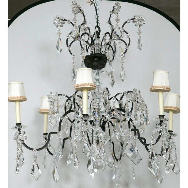 French Holly Hunt Wrought Iron & Crystal Chandelier For Sale - Image 3 of 10