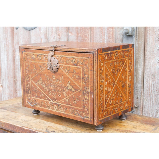 Moroccan Spanish Vine Motif Wood Inlay Bargueno For Sale - Image 3 of 13