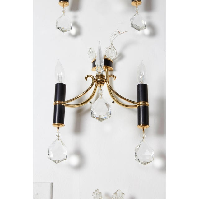 Metal Italian 1940s Brass, Black Enamel and Crystal Sconces For Sale - Image 7 of 9