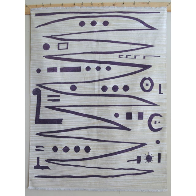 Paul Klee - Heroic Strokes of the Bow - Inspired Silk Hand Woven Area - Wall Rug 4′9″ × 6′3″ For Sale - Image 10 of 10