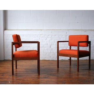 Mid Century Modern Floating Back Square Chairs- A Pair Preview
