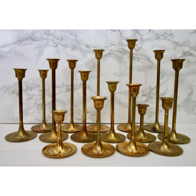 Lot of 15 Vintage Brass Graduated Tulip Candle Stick Holders - Image 3 of 6