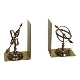 Vintage Armillary Brass Book Ends - a Pair