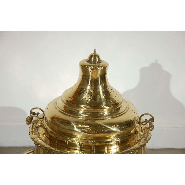 Antique Middle Eastern incense burner or fire pit with pierced brass and solid brass ornamentation. Museum quality piece....