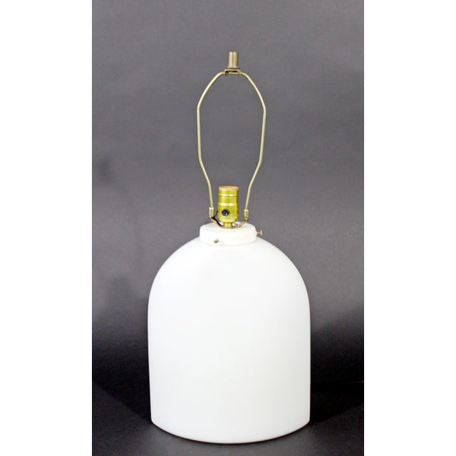 White 1970s Large Peill Putzler Koch & Lowy Mid-Century Modern White Glass Table Lamp For Sale - Image 8 of 8