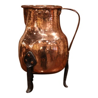 18th Century French Polished Copper and Forged Iron Hot Water Pitcher For Sale