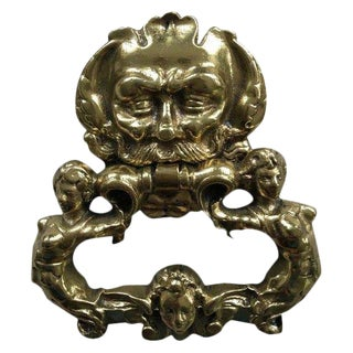 Vintage Brass Neptune / Poseidon Sea Nymphs Mermaids Door Knocker For Sale