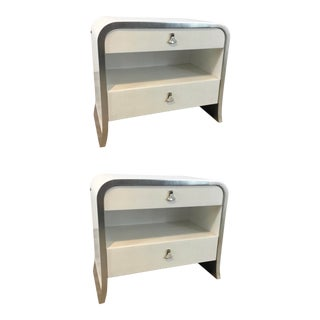 Caracole Modern White and Silver Leaf Shine on Nightstands Pair For Sale