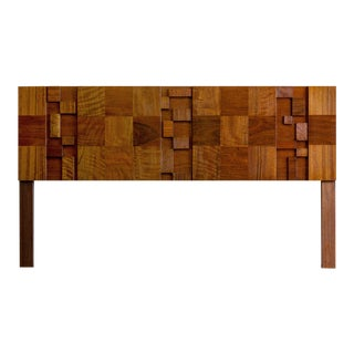 Mid Century Modern Lane Staccato Brutalist King Headboard For Sale