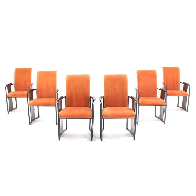 Orange Mid-Century Modern Metal and Rosewood Frame Dining Chairs - Set of 6 For Sale - Image 8 of 11