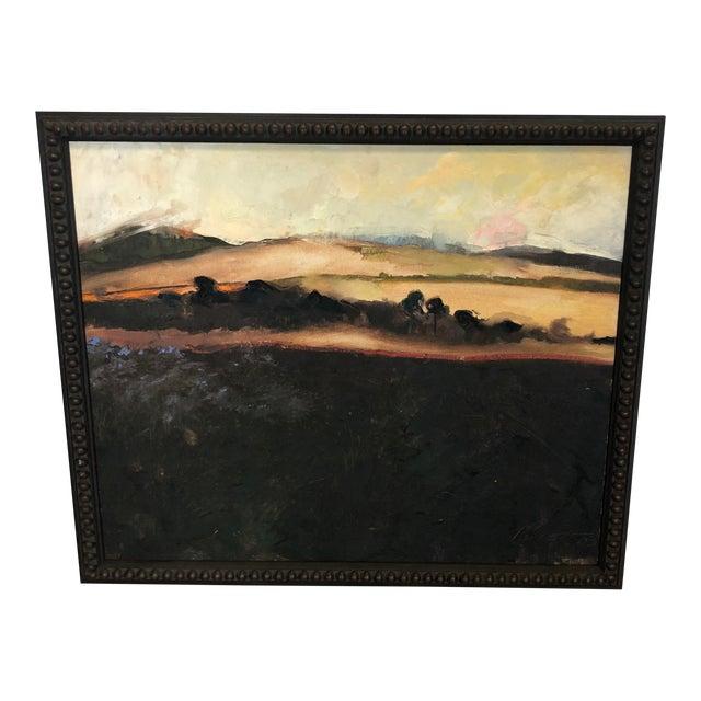 Black Framed Landscape Painting For Sale
