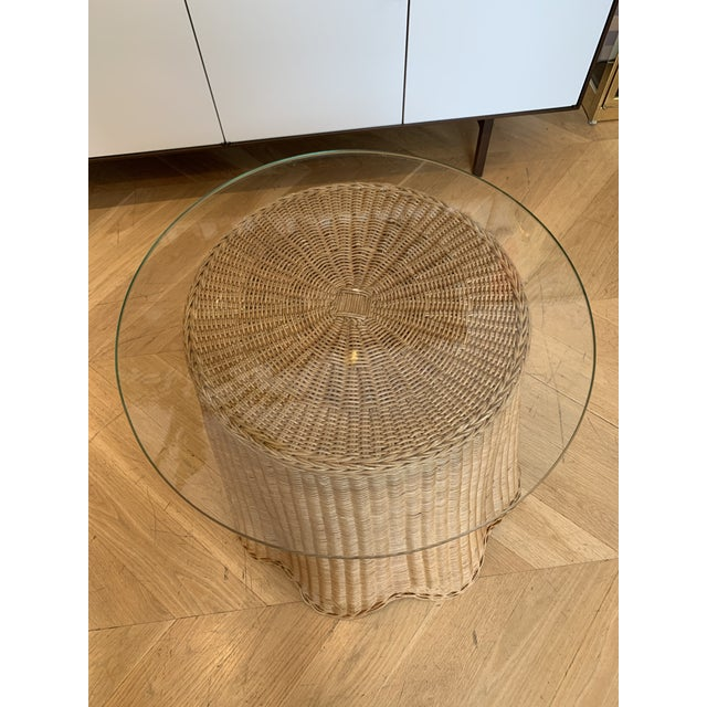 1960s Draped Wicker Side Table For Sale - Image 4 of 5