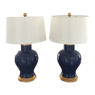Blue Cleo Table Lamps - A Pair
