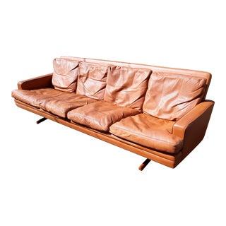 1970s Vintage Danish Modern,Scandinavian Leather Sofa For Sale