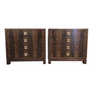 Pair of Flame Mahogany Antique Style Chests For Sale