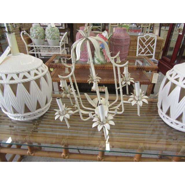 """Palm Beach Faux Bamboo Chandelier. It measures 22""""H x 22""""WX22'D. It is in good as found vintage condition."""