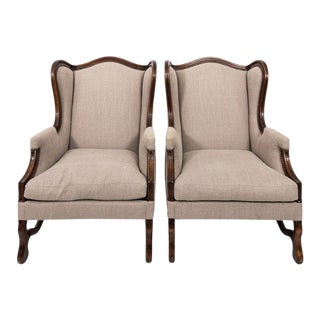 Late 19th Century French Wingback Os De Mouton Armchairs - a Pair For Sale