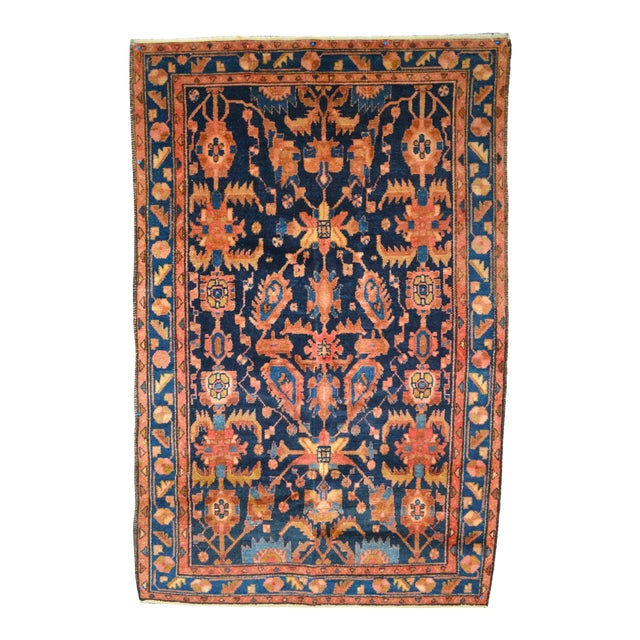 """Navy & Peach Antique Persian Rug - 4'4"""" x 6'8"""" - Image 1 of 6"""