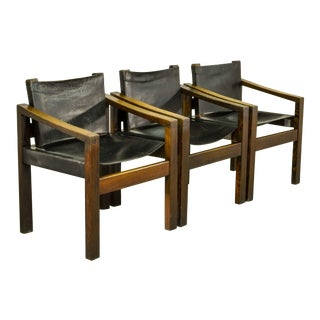 Set of Sturdy Mid-Century Modern Design Wengé Wood and Black Sadle Leather Arm Side Chairs in Brutalistic Scandinavian Style , 1960s. For Sale