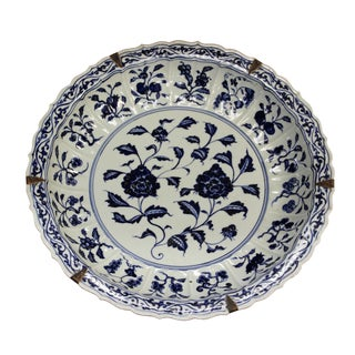 Chinese Blue & White Porcelain Oriental Flowers Display Charger Plate