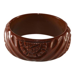 Bakelite Wide Carved Brown Bangle Bracelet Vintage For Sale