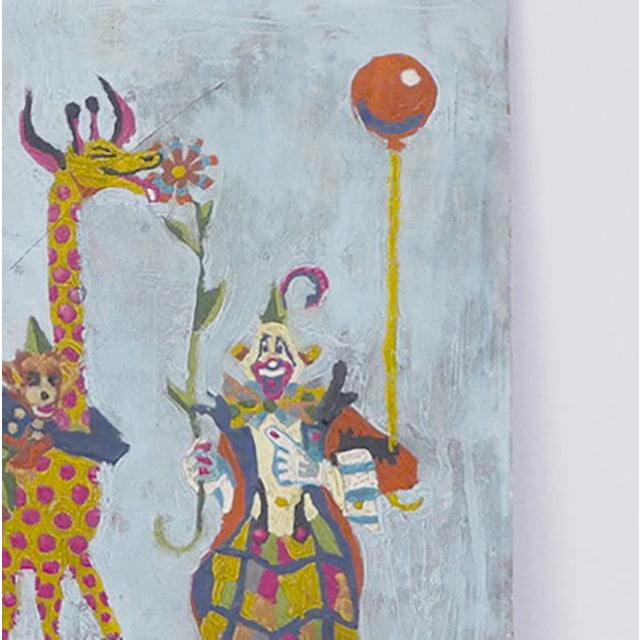 Clown, Giraffe and Monkey Circus Painting For Sale - Image 4 of 5